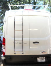 Transit rear door ladder in stainless steel installs with only 2 screws.