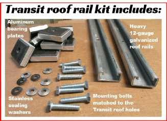 The roof rail kit is necessary to install this rack on your Transit